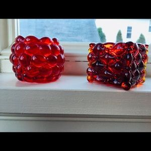 Vintage red glass candle holders
